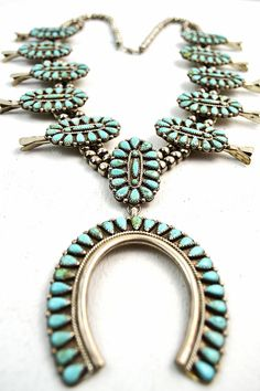 Huge vintage ZUNI old pawn STERLING silver Native American TURQUOISE squash blossom necklace on Etsy, $2,500.00