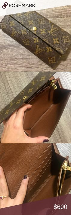 """PERFECT condition Louis Vuitton LV Sarah wallet 100% Authentic. Style is called """"Sarah"""".  Date code: SD4132   Got it as a gift a while ago but it's too large for my style as I usually wear very small bags.  Combines an elegant exterior in Monogram canvas with an ingeniously designed interior.  Retail Price: $756 with NYC tax  7.3 x 4.1 x 1 inches  (L x H x W)   - 6 card slots - Large snap-on compartment for carrying change - Two internal patch pockets for other papers and tickets - Golden…"""