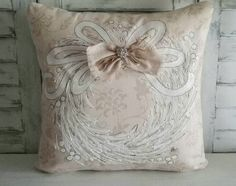 Spring, White Wreath, Farmhouse Accents, Cottage, Patio Cushions, Throw Pillows, Hand-painted, Pillow Cover  This hand-painted white wreath pillow cover will be a great accent for your farmhouse decor. Pillow cover is made of 100% medium weight designer fabric and canvas. Hand-painted and signed by artisan. Easy accessible back overlaps to fit pillow insert. Designed to fit a 18 x 18 inch insert.  **NOTE** This listing is for the pillow cover only.  FREE SHIPPING USA on all of our pillow…
