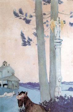 Galicia duerme. Problema: Debe despertarse?, 1914. Acuarela sobre papel. 32 x 20 cm. Museo de Arte Contemporánea Carlos Maside