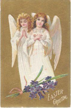 Vintage Postcard Easter Victorian Angels 1909