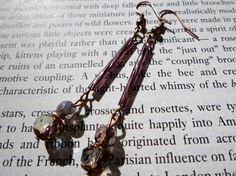 NOW SOLD! Deco Inspired Amethyst AB Crystal & Czech Glass Bugle Bead Drop Earrings Pierced or Clip On by LovesVintage43 on Etsy