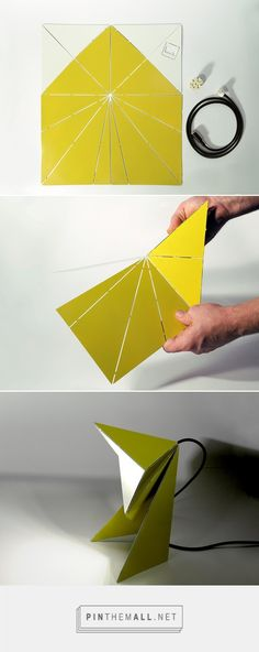 origami folding lamp by mirco kirsch - Mode Ideen Origami Templates, Origami And Kirigami, Origami Folding, Useful Origami, Origami Tutorial, Origami Art, Paper Folding, Box Templates, Origami Design