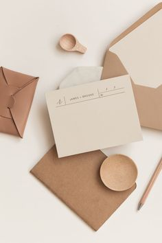 wedding stationery, RSVP card or business card inspiration - this modern design is versatile, stylish and on trend with it's neutral and pale color palette and natural, crafted paper. Beautiful envelopes inn earthy colors and a clean layout make it perfect.