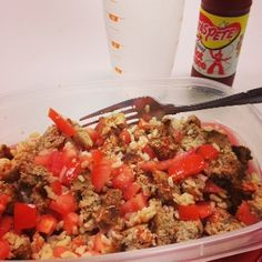 #Clean #eating.  Ground Turkey and Brown Rice.  A one bowl meal!  #healthymeal