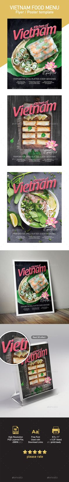 Buy Template of Vietnamese Food Restaurant Menu by tunagaga on GraphicRiver. Commercial sale flyer / poster template suited for Vietnamese cuisine restaurant… size poster template, easy . Food Poster Design, Menu Design, Flyer Design, Print Design, Vietnamese Cuisine, Vietnamese Recipes, Coffee Shop Menu, Mexican Menu, Restaurant Poster