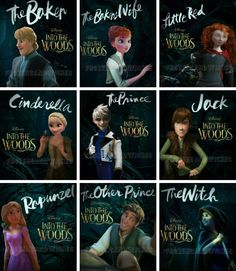 Into the Woods with Disney and Dreamworks characters>>>>WAAAAIITTTT!!!!!! Jack should be JACK and HANS should be PRINCE CHARMING