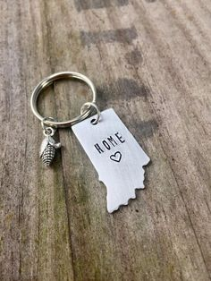 Indiana Home Keychain Hand Stamped Hoosier State by IndyGifts