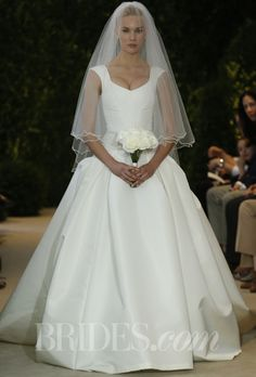 """Carolina Herrera - Spring 2014 """"Britt"""" ivory silk faille gown with embellished waist detail, long tulle veil with detailed trim, Carolina Herrera"""