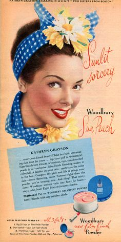 1940s ad, advertisement with Kathryn Grayson wearing a blue bandana and summer-ish flowers in her hair (1946).
