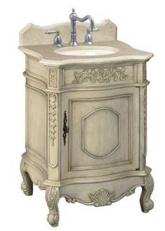 Belle Foret BF80030R Single Basin Bathroom Vanity, Antique Parchment