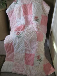 Vintage Chenille Patchwork Quilt Pinks with by CuddlyComforts