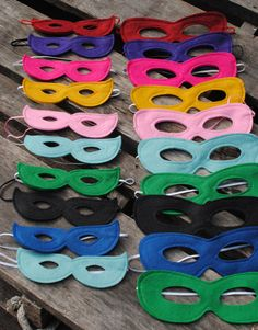 Super Hero Masks – Set of 5 , Choose from over 80 colors, Soft wool felt with soft skinny elastic Perfect for newborn and child photography