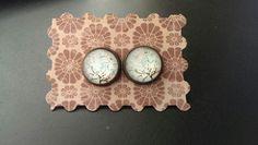 Handgemacht Cabochon Ohrringe Ohrstecker Traumbaum bronze 12mm Handmade