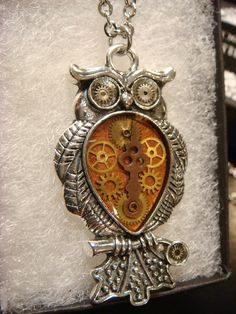 Clockwork Owl with Gears Steampunk Style by ClockworkAlley on Etsy  #steampunk #steampunk owl #steampunk jewelry #gears #owl