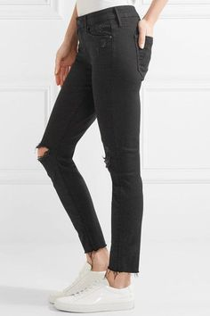 Mother - Looker Distressed Mid-rise Skinny Jeans - Black - 32