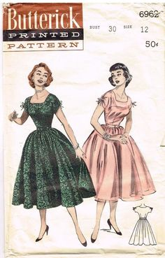 ead54802b8 Vintage Pattern Rockabilly Dress Cut Out Neckline Butterick 6963 12 30  1950 s Vintage Dress Patterns