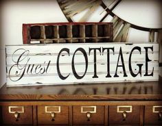Guest Cottage ... vintage style sign... 32 x 10 beadboard