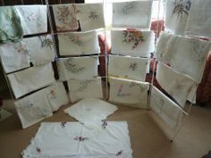 JOB LOT OF 24 EMBROIDERED /OPEN WORK /APLICA /PAINTED ,SHABBY CHIC CURTAINS