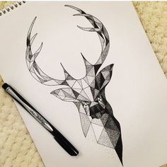 Black and white geometric antelope deer animal antlers modern geometric tattoo design idea inspiration