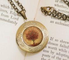 Autumn Tree Locket Necklace  Bronze Locket  Welcome by feverbloom.