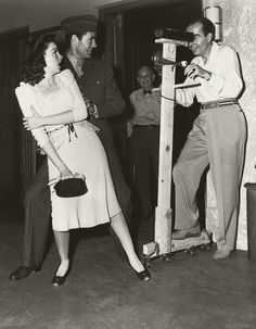 Judy Garland, Robert Walker and Vincente Minnelli on the set of The Clock, 1945.