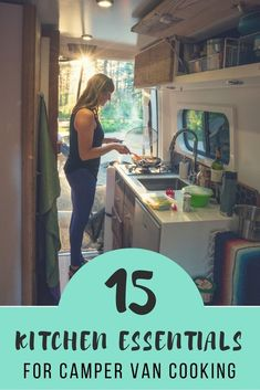 The best compact kitchen essentials for cooking in a camper van. Avoid rattling, breaking, messes & wasting too much space with this cooking gear.