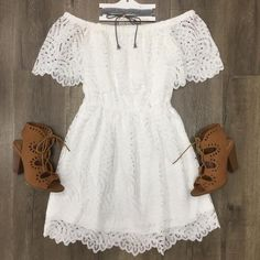 Charlotte Lace Dress Lace Dress, White Dress, Large Size Dresses, Beige, Off The Shoulder, Charlotte, Collection, Fashion, White Clothing