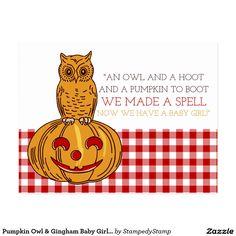 Pumpkin Owl & Gingham Baby Girl Announcement Postcard