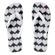 Personalised Romantic Pastel Hearts Flip Flops