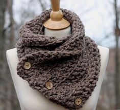 Items similar to Hand Crochet Boston Harbor Scarf in Taupe Shoulder Wrap with 3 small coconut buttons Office Snuggy on Etsy Crochet Shawl, Hand Crochet, Knit Crochet, Knitted Cowls, Crochet Things, Crochet Scarves, Free Crochet, Outlander Knitting Patterns, Hand Knitting