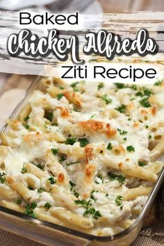 Feb 2020 - This Chicken Alfredo Baked Ziti is so easy to make. With chicken, bacon, pasta and a creamy, cheesy homemade Alfredo sauce, it's the best weeknight meal. Alfredo Sauce Recipe Easy, Pasta With Alfredo Sauce, Alfredo Saus, Cheesy Alfredo Recipe, Baked Ziti With Chicken, Chicken Bacon Pasta Bake, Recipes With Chicken Broth, Meals To Make With Chicken, Salads