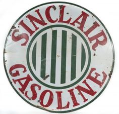 """48"""" Round Single Sided Porcelain Sign for Sinclair Gasoline. Sign has multiple areas of porcelain loss and 3 bullet holes. Date Sold: 10/25/14  Realized Price: $614"""