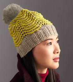 Wool Worsted Ripple Hat   Learn how to knit your own pom pom hat! Find the pom pom hat tutorial from @joannstores