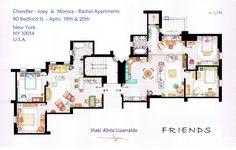Planta dos apartamentos da Mônica e Rachel & Joey e Chandler de Friends