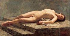 Carlos Baca Flor. Academia de joven acostado, 1886 Óleo sobre lienzo, 61.5 x 116 cm.