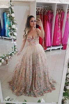 Charming Beautiful Sexy Spaghetti Straps A Line Floral Embroidery Prom Dresses Long Formal Party Dress Formal Dresses Uk, Floral Prom Dresses, V Neck Prom Dresses, Formal Prom, Flower Dresses, Pretty Dresses, Beautiful Dresses, Maxi Dresses, Long Dresses