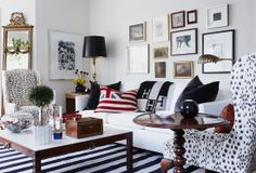 Classic Eclectic Living Room. Love that black and white striped rug!