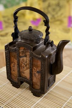 """interesting teapot, bought at auction    """"Fool for a Dish""""  available for photo shoots,   leahfortin@comcast.net,   Photographer: Ramona d'Viola"""
