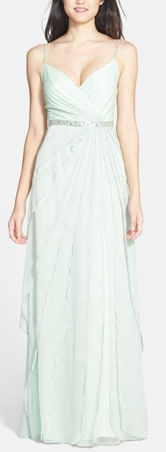 Layered mint gown by Adrianna Papell