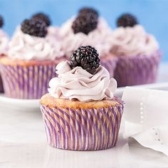 Blackberry Lemon #cupcakes #glutenfree Blackberry Lemon Cupcakes are a nice change from the ordinary. These are a great summer dessert. #recipe