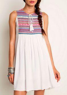 Umgee Boho Sleeveless Tribal Serape Tassel Tie Ivory Swing Dress - Tunic Top S-L #UmgeeUSA #Trapeze #Casual