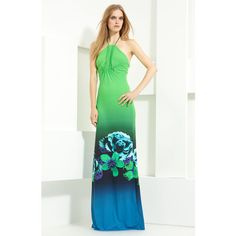 Roberto Cavalli Jersey Maxi Dress (36.880 RUB) ❤ liked on Polyvore featuring dresses, halter maxi dress, ombre maxi dress, halter-neck dresses, jersey dresses and halter-neck tops