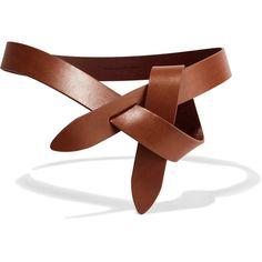 Étoile Isabel Marant Leather waist belt ($125) via Polyvore featuring accessories, belts, tan, adjustable leather belt, 100 leather belt, adjustable belt, knotted belts and tan waist belt