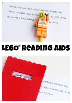 """""""For kids"""" um I could use this. LEGO Reading Aids for Kids - Engage your reluctant readers and eager readers alike with these fun, simple LEGO® literacy aids. Play Based Learning, Fun Learning, Learning Support, Construction Lego, Kids Learning Activities, Teaching Ideas, Alphabet Activities, Learning Resources, Homeschooling Resources"""