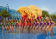 Aqualillies water ballet performs in Big Blue Pool at Disney's Art of Animation Resort