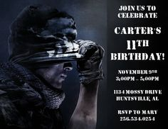 Diy printable custom birthday party invitation call of duty ghosts call of duty birthday party invitations 2 filmwisefo Image collections