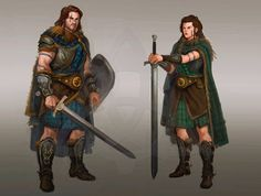 Art by dleoblack - Wild Man with sword and shield beside his wife, armed with a claymore Fantasy Warrior, 3d Fantasy, Fantasy Setting, Medieval Fantasy, Dark Fantasy, Character Creation, Character Concept, Character Art, Character Design