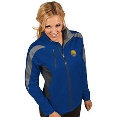 Women's Antigua Golden State Warriors Discover Pullover ($110) ❤ liked on Polyvore featuring dark blue and antigua