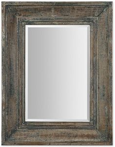 Uttermost Missoula Small Mirror. Uttermost's Missoula mirror features a beveled edge and distressed, aged wood frame for a rustic look that brings shabby-chic in style. affiliate link